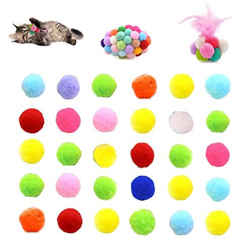 Chingde Katzenspielzeug Bälle Plüsch, 32 Stück Flauschigen Plüsch Bälle Kratzfes Katzenspielzeug...