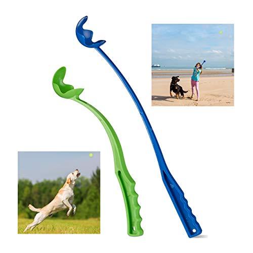 Relaxdays Ballschleuder für Hunde, 2er Set Ballwerfer, Wurfschleuder für Tennisbälle, Wurfarm,...