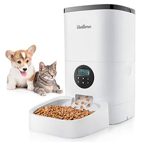 Balimo 6L Automatisch Futterspender für Katzen und Hunde, Automatischer Futterautomat mit Timer und Ton...