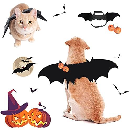 Halloween Haustier Kostüm,Vampir Fledermaus Flügel Kostüme,mit 2pcs Pumpkin Bell,Katze Hund Fledermaus...