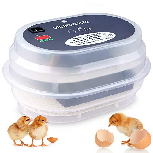 Amzdeal Inkubator, Vollautomatische Brutmaschine, Motorbrüter Hühner, Brutapparat mit LED...