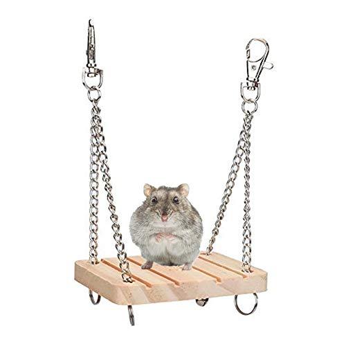 Pssopp Hamster Schaukel Spielzeug aus Holz Haustier hängen Bett Hamster Käfig Zubehör für Hamster...