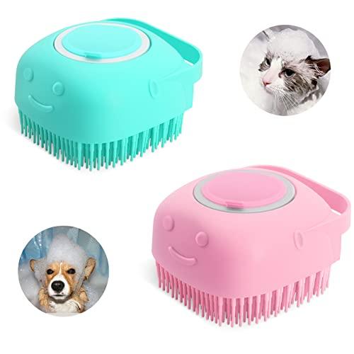 YWNYT 2 x Hunde-Bürste aus Gummi, Fellpflege, Massagebürste für Haustiere, mit Shampoo-Spender,...