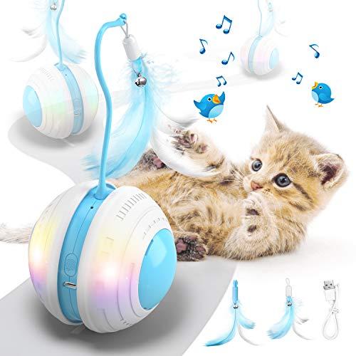 Jionchery Interaktives Katzenspielzeug für Hauskatzen Elektrisch Bewegliches Katzenfederspielzeug...