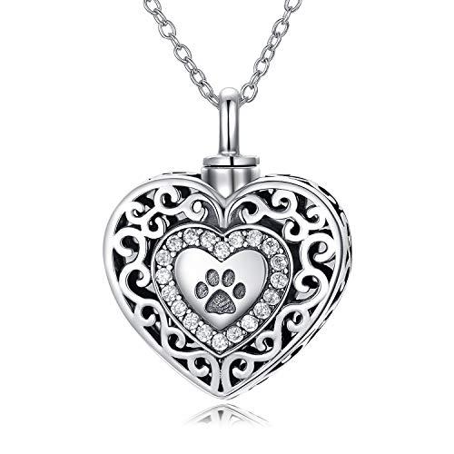 925 Sterling Silber Dog Paw Urn Halsketten für Hunde Asche für immer in meinem Herzen, Feuerbestattung...
