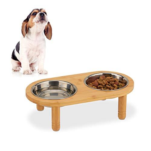 Relaxdays Futterbar für kleine Hunde, 2 Näpfe je 300 ml, erhöht, Bambus & Edelstahl, HxBxT:...