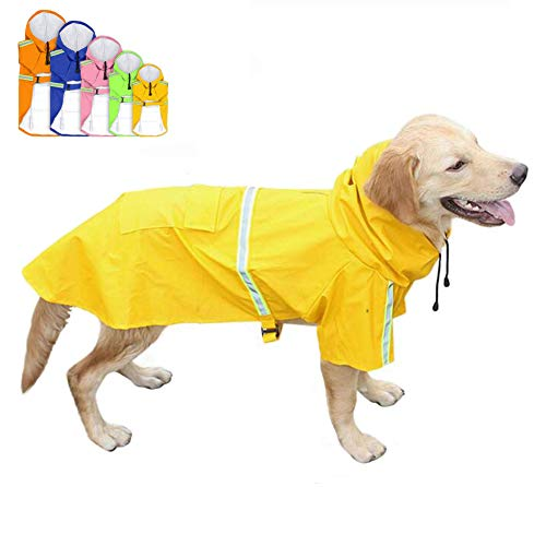 FEimaX Hunderegenmantel Wasserdicht Hunde Regenjacke mit Reflektierenden Streifen, Verstellbarer...