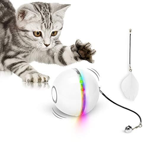 Katzenspielzeug Ball mit LED-Licht & Katzenminze, Interaktives Ringglocke Feder Spielzeug, 360° Rollen...