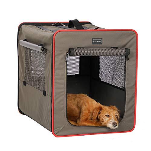 Petsfit faltbar Hundebox Transportbox für Auto & Zuhause Hundetransportbox Katzenbox mit Fleece Matte...