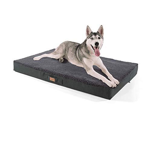 brunolie Balu sehr großes Hundebett in Dunkelgrau, waschbar, orthopädisch und rutschfest, kuscheliges...