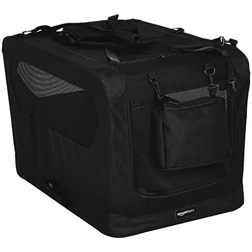 Amazon Basics - Hochwertige Haustier-Transportbox, faltbar, weich - 76 cm, SCHWARZ