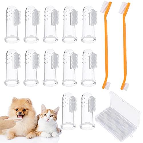 TGFIX 14TLG Haustier Zahnbürste Set Hundezahnbürste Zahnreiniger 12 Weiche Silikon Fingerzahnbürste...