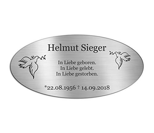 Gedenkstein Grabstein aus V2A Edelstahl Grabplatte mit Gravur 21x10 cm oval Gedenktafel für Menschen...
