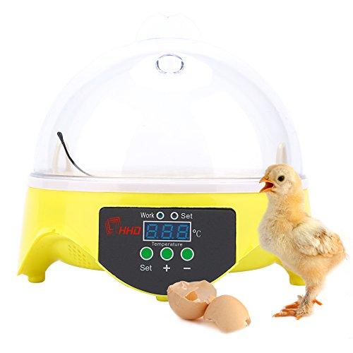Cocoarm Brutmaschine Inkubator 7 Eier Mini Digital Inkubator Inkubationsgerät Eier Brutkasten Temperatur...