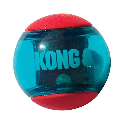 KONG – Squeezz Action Ball, Rot – Interaktives, Quietschendes Apportierspielzeug mit Mehrfachen...