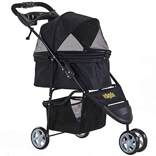 VIAGDO 3 Rad-Buggy für Hunde und Katzen, Hundewagen Hundebuggy, Kein Reißverschluss Haustier...