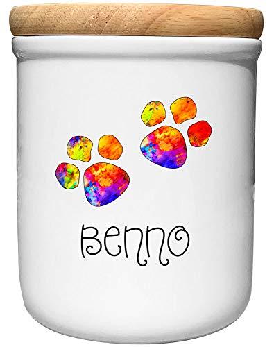 Cadouri Keramik Leckerli-Dose BUNTE PFOTEN - personalisiert - mit Name deines Hundes┊Snackdose Keksdose...