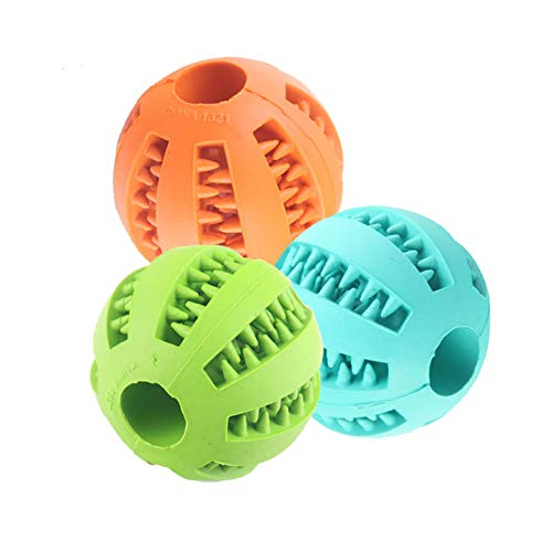 MINGZE 3 Stück Pets Hundespielzeug Ball, Training Feeder Interaktives Hundeball aus Naturkautschuk...