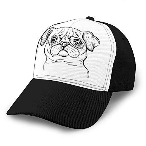 Baseballkappen, Cowboy-Hüte, Sonnenhüte, süßes Mops-Hunde-T-Shirt, Druckdesign, coole Tier-Cowboy-Hut