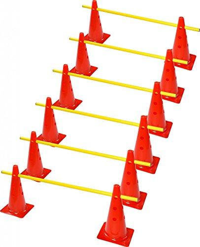 RHINOS sports Steckhürdenset, 12 Multifunktionskegel (38 cm) inkl. 6 Trainingsstangen (1 m)