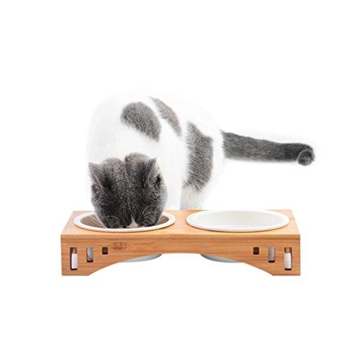 Petacc Katzennäpf Hundenäpf, Futterschüssel Katze Hunde und Hoch Trinknapf, rutschfest von Bambus...