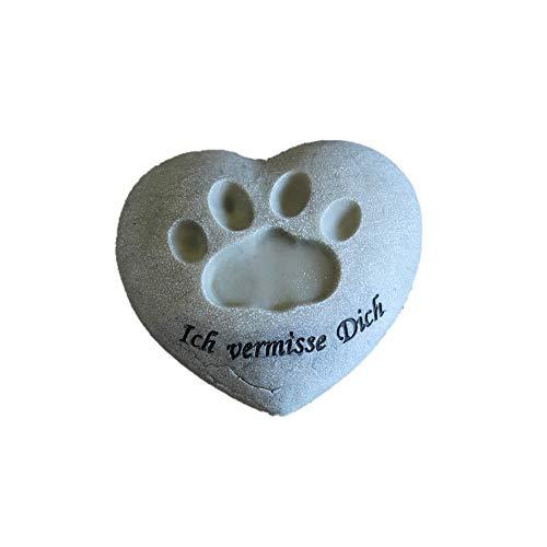 Poly-Herz mit Hunde-Pfote Grabschmuck ca. 9,5x4x10,5 cm