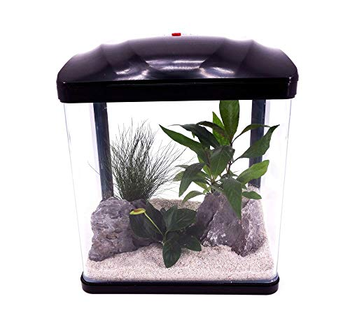 AquaOne Aquarium Komplettset LED mit Pumpe HR-230 schwarz I Kleines Nanoaquarium 7 Liter I Mini Nano...
