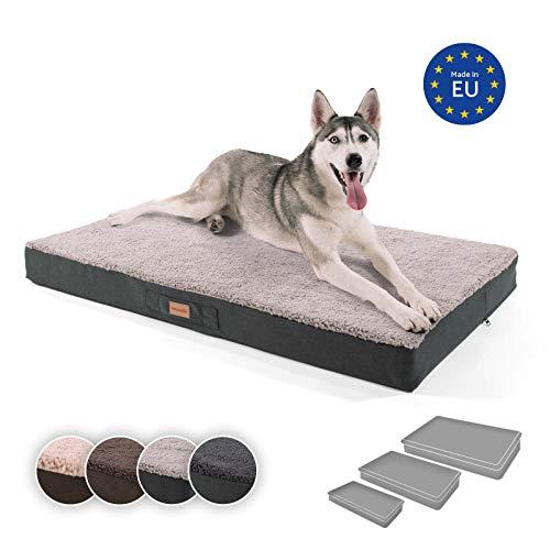 brunolie Balu extra großes Hundebett in Grau, waschbar, orthopädisch und rutschfest, kuscheliges...