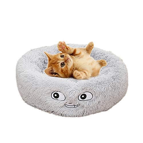 MOGOI Katzenbett mit Kissen, orthopädisches Katzenbett, bequemes Donut-Kuschelbett, rund, sehr weich,...
