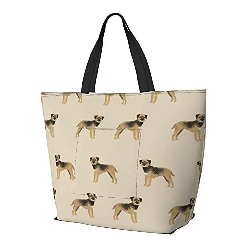 FJJLOVE Umhängetasche Border Terrier Hund Hunde Border Terrier Tan Große Kapazität Handtasche Leichte...