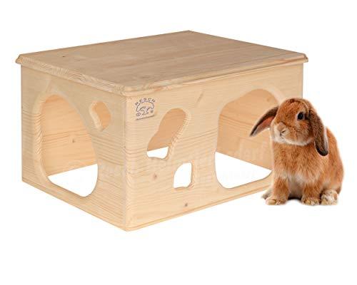 Resch Nr18 Kaninchenhöhle naturbelassenes Massivholz aus Fichte/großes Haus mit Zwei Eingängen im...