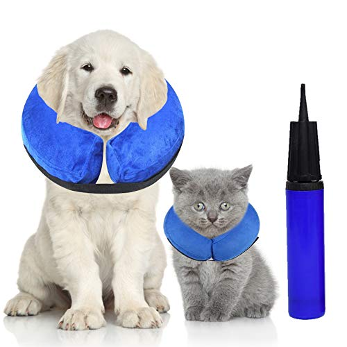Halskrause Hund Schützender Hundekragen Aufblasbar für Haustier Schutzkragen Krägen Halskragen für...