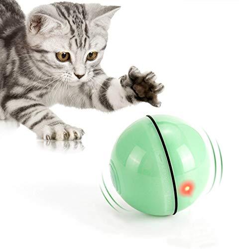 WWVVPET Interaktives Katzenspielzeug Ball mit LED-Licht, selbstdrehender 360-Grad-Ball, wiederaufladbares...