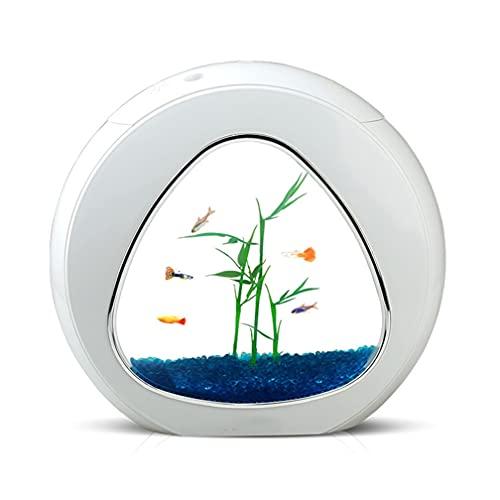 XXJIC Fischtank Aquarium Starter Kits 4L Mini Nano Tank für Ökologie Beta Fish Integration Filter LED...