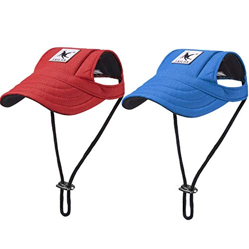 2 Stück Hunde Baseballkappen Hund Visier Hüte Haustier Outdoor Sport Hüte mit Ohrlöchern und...