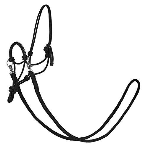 York Knotenhalfter mit Zügeln Zirco Arbeitshalfter Reithalfter (Pony, schwarz)