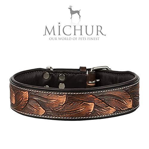 MICHUR Luna Hundehalsband Leder, Lederhalsband Hund, Halsband, Leder, Braun Schwarz Muster, in...