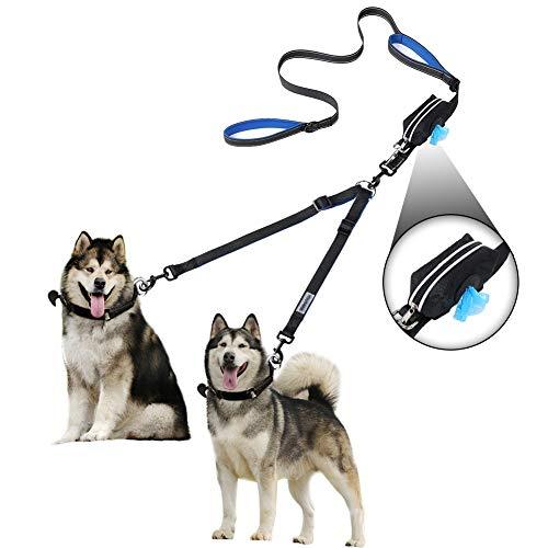 YOUTHINK Doppelte Hundeleine, Keine Verwicklung Hundeleine 2 Hunde bis 50kg, Bequem Verstellbare, Zwei...