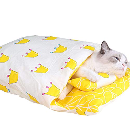 ASOSMOS Warmer Katzenschlafsack Abnehmbarer Katzenbett Winter Warm Katzenhaus Kleines Haustierbett Kleine...