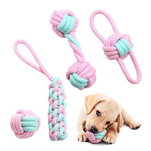 Hundespielzeug Seil Set, 4 Stück Langlebiges Interaktives Hundespielzeug für Welpen kleine und...