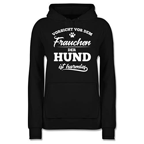 Geschenk für Hundebesitzer - Vorsicht vor dem Frauchen der Hund ist harmlos - M - Schwarz - Damen Hoodie...