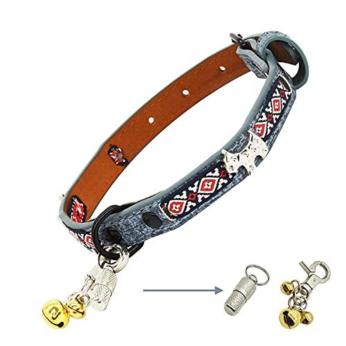 Hundehalsband, Hundehalsband mit echtes Leder und Glocken, Verstellbar, Halsband für Welpen Kleine...