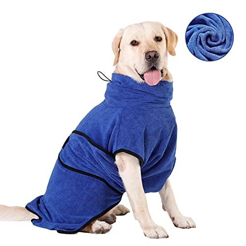 HAPPY HACHI Mikrofaser Hunde Bademantel Badetuch Hundebademantel Waschbare Super Saugfähig Feuchtigkeit...
