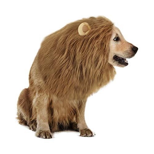 Hundekostüm Löwenmähne Löwe Mähne mit Ohren, Löwe Haar Kopfbedeckung für Katzen, Hunde,...