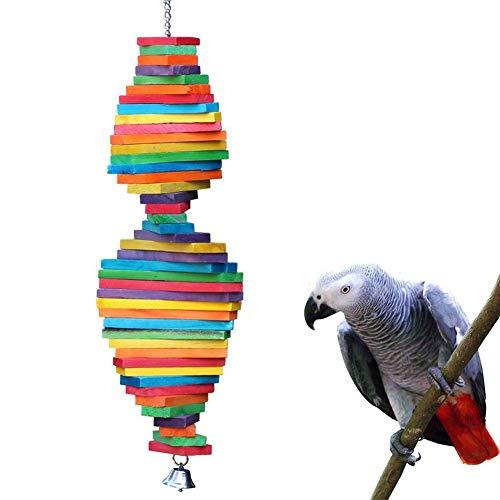 EGFheal Vogel-Kauspielzeug aus Holz, mehrfarbig, natürliche Holzblöcke, für Vögel, Papageien,...
