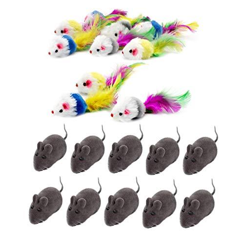JZK 20 xKatzenspielzeug Mäuse mit Federschwänzen Mausspielzeug mit Lebensechter Klang interaktives...