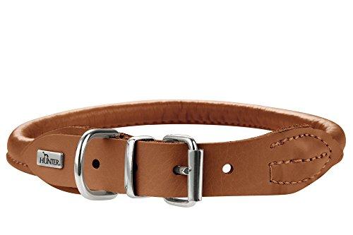 HUNTER ROUND & SOFT ELK Hundehalsband, Leder, weich, rund, fellschonend, 55 (M-L), cognac