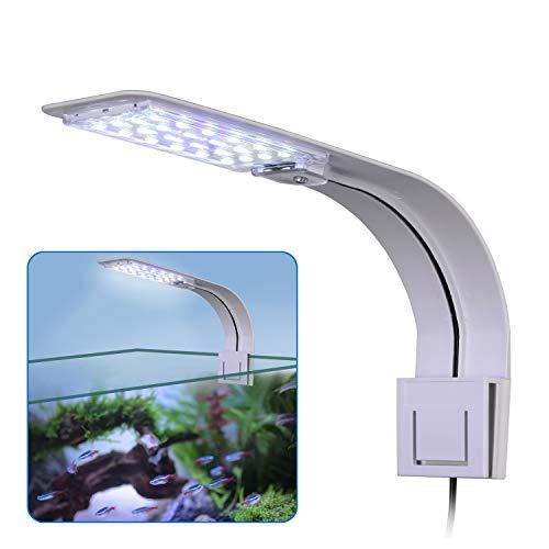 LED Aquarium Licht, KWOKWEI Clip-on Aquarium Lampe mit Weiß und Blau Licht, 10W LED Aquarienleuchte mit...