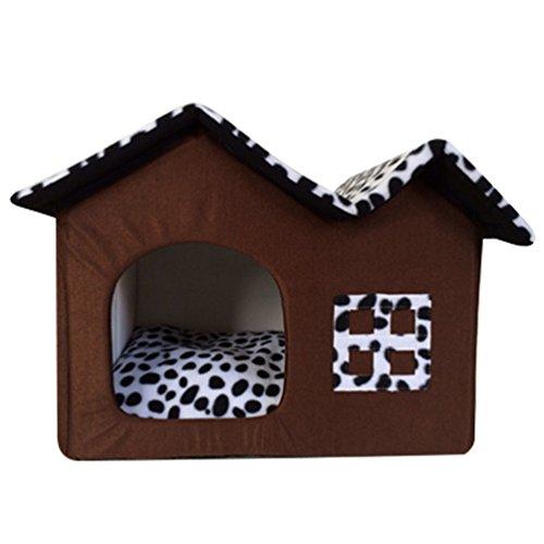 LvRao Haustier Haus Hund Katze Bett Höhlenbett Faltbar abnehmbar Klein Hundehaus Hundehöhle...