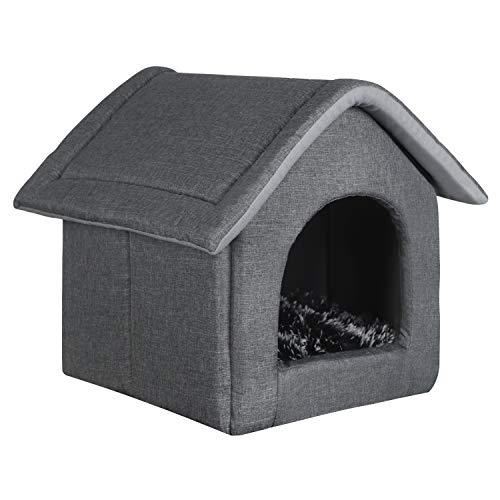 EUGAD 0009GD Hundehaus Hundehütte Katzenhöhle Katzenhaus Drinnen mit herausnehmbarer Matte Kissen...